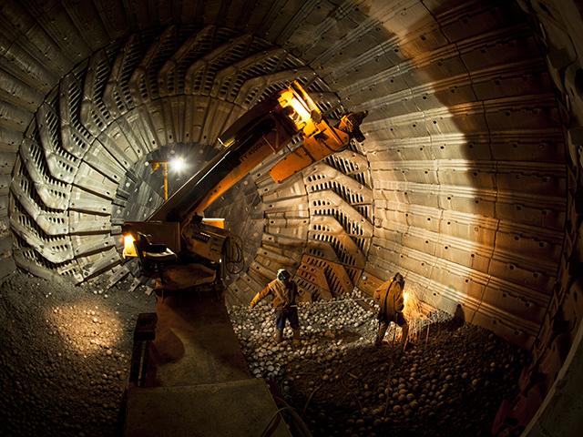 Inside mining mill, SAG mill relining